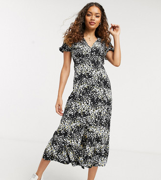 Miss Selfridge Petite maxi dress in scattered black floral