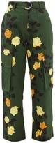 MSGM Belted Rose-print Cotton Cargo Trousers - Womens - Green