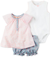 Carter's 3-Pc. Top, Pointelle Bodysuit & Chambray Bubble Shorts Set, Baby Girls (0-24 months)