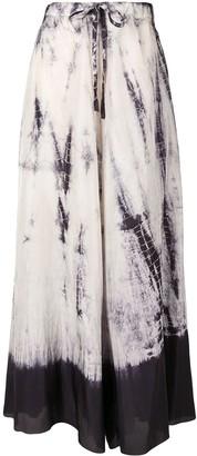 Masnada Drawstring Tie-Dye Print Silk Skirt