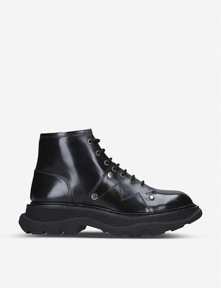 Alexander McQueen Lace-up patent leather ankle boots