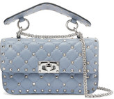 Valentino Matelassé Small Embellished Quilted Leather Shoulder Bag - Gray