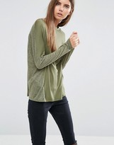 Asos Linen Mix T-Shirt With Long Sleeves