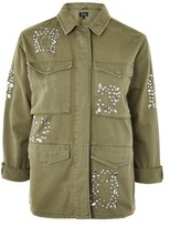 Topshop Rhinestone Embellished Shacket