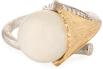 Michael Aram Butterfly Ginkgo Moonstone & Diamond Ring, Size 7