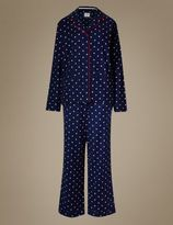 Marks and Spencer Pure Cotton Star Print Revere Collar Pyjamas