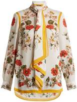 Alexander McQueen Tie-neck floral-print silk-crepe blouse