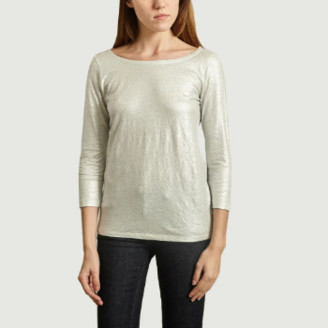 Majestic Filatures Metallic Silver T Shirt with Buttons on the Back - s