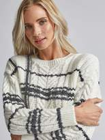 Dorothy Perkins Check Cable Knit Jumper - Cream