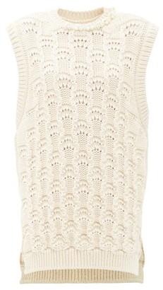 Simone Rocha Faux Pearl-embellished Organic-cotton Sweater Vest - Cream