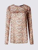 Marks and Spencer Printed Ruffle Long Sleeve Blouse