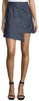 CNC Costume National Asymmetric-Hem Denim Skirt, Blue Denim