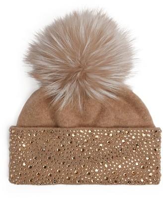 William Sharp Crystal-Embellished Fur Beanie Hat
