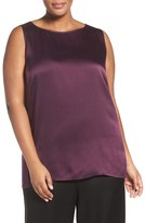 Eileen Fisher Hammered Silk Satin High/Low Shell (Plus Size)