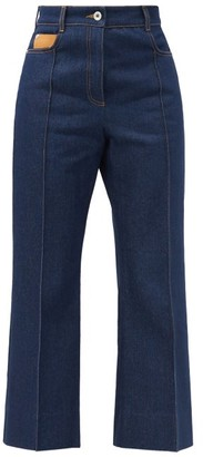 Paco Rabanne High-rise Pintucked Kick-flare Jeans - Denim
