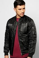 Boohoo Multi Badged & Zipped Ma1 Bomber