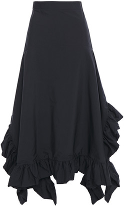GOEN.J Asymmetric Ruffled Poplin Midi Skirt