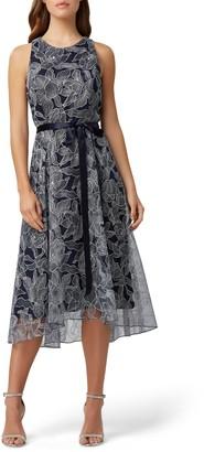 Tahari Sleeveless Tie Waist Metallic High/Low Dress