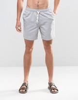 Asos Swim Shorts In Gray With Drawcord Detail In Mid Length