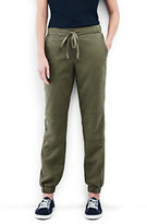 Lands' End Women's Petite Chino Patch Front Jogger-Smokey Olive