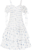 Alexander McQueen Cold-shoulder Tiered Floral-print Cotton-voile Maxi Dress - Ivory