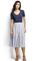 Classic Women's Petite Linen A-line Skirt-Midnight Indigo Stripe