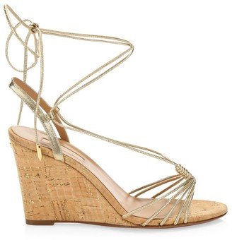 Aquazzura Whisper Metallic Leather Wedge Sandals