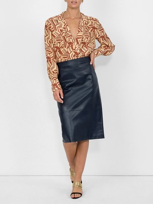 The Row Leather Pencil Skirt