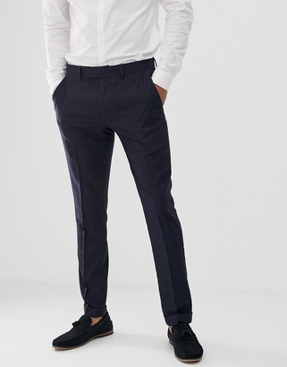 Farah Henderson skinny fit pinstripe pants in navy