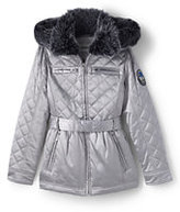 Classic Little Girls Quilted Metallic Insulated Jacket-Light Silver Metallic