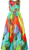 Milly Ava Strapless Printed Cotton And Silk-Blend Satin Gown
