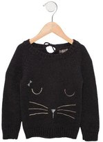 Emile et Ida Girls' Cat-Embroidered Long Sleeve Sweater