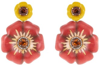Silvia Furmanovich 18kt yellow gold diamond Sculptural Botanical Marquetry Flower earrings
