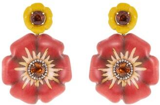 Silvia Furmanovich 18kt yellow gold diamond Sculptural Botanical Marquetry Flower earrings