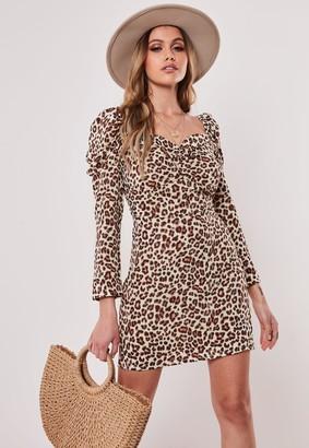 Missguided Brown Animal Print Square Neck Mini Dress