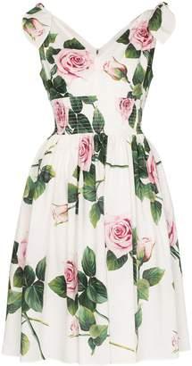 Dolce & Gabbana floral print smocked waist dress