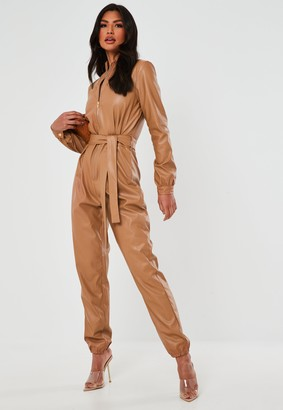 Missguided Tan Faux Leather Zip Through Jumpsuit