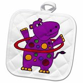 3dRose All Smiles Art Funny - Funny Purple Hippo Playing Hula Hoop - 8x8 Potholder (phl_200158_1)