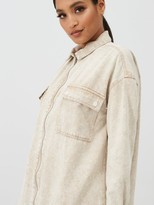 Missguided Utility Pocket Zip Through Light Wash Denim Shirt Dress - Stone