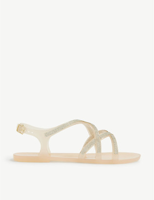 Kg Kurt Geiger Regain diamante jelly flat sandals