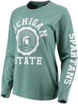Unbranded Women's Green Michigan State Spartans Oversized Comfort Colors University Seal Long Sleeve T-Shirt