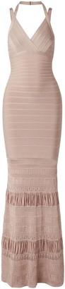 Herve Leger Pointelle Knit-paneled Bandage Gown