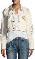 Jonathan Simkhai Embellished Button-Front Cropped Boyfriend Jacket