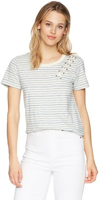 Lucky Brand Women's Stripe LACE UP Shoulder TEE