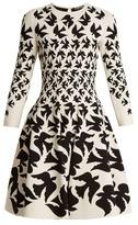 Alexander McQueen Doves-intarsia flared-skirt dress