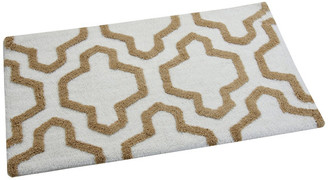 Saffron Fabs Anti-Skid Machine Washable Cotton Geometric Bath Rug, White/Beige, 36""