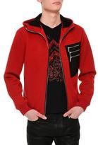 Versace Neoprene Leather Zip Hoodie, Red