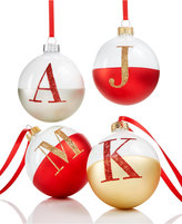 Holiday Lane Glass Initial Ball Ornaments, Created for Macy's