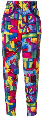 Versus Pre Owned patchwork print cropped trousers