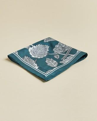 Ted Baker Leaf Print Silk Pocket Square